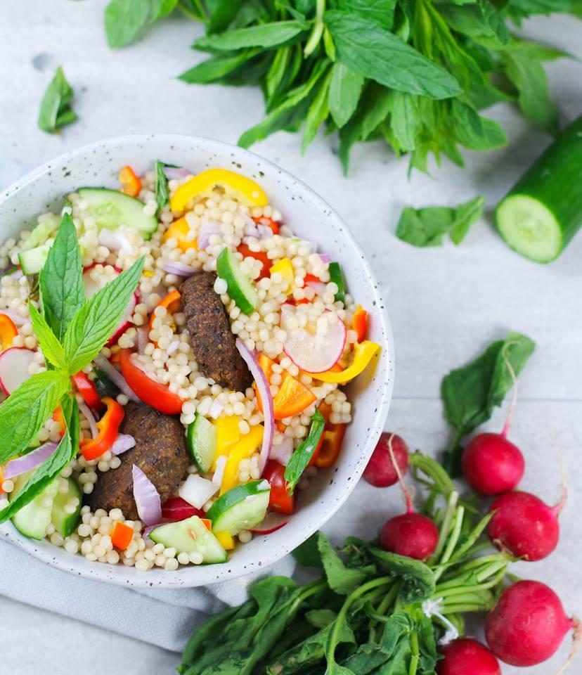 Cous Cous Salad with Falafel & Radish