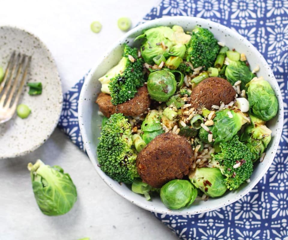 Brussels Sprouts, Falafel & Broccoli Bowl