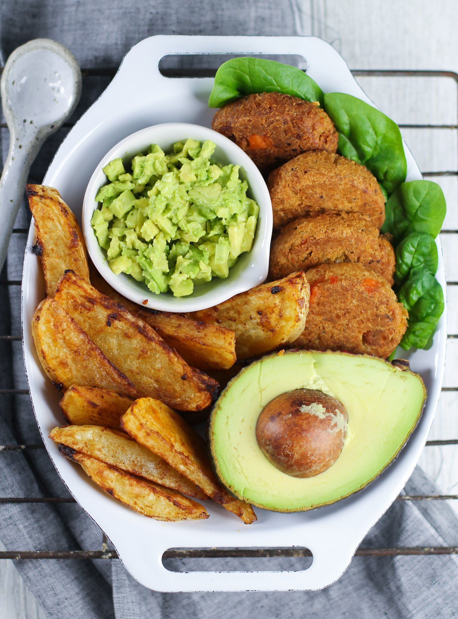 Garlic Wedges with Spicy Quinoa Falafel